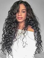 Недорогие -Не подвергавшиеся окрашиванию Лента спереди Парик Бразильские волосы Кудрявый Парик Стрижка каскад 130% Природные волосы / Для темнокожих женщин Черный Жен. Длинные