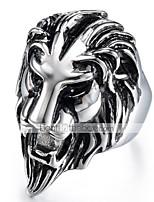 economico -Per uomo Vintage 3D Band Ring Anello di dichiarazione - Acciaio al titanio Leone Vintage, Punk 9 / 10 Nero Per Halloween Quotidiano Strada