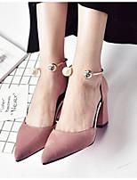 abordables -Femme Chaussures de confort Daim Printemps Chaussures à Talons Talon Bottier Noir / Beige / Rose