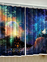 cheap -3D Curtains Bedroom Geometric Polyester Reactive Print