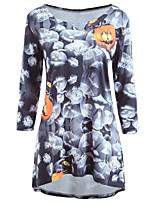 baratos -Mulheres Boho / Sofisticado Chifon Vestido - Estampado Altura dos Joelhos