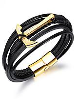 abordables -Homme Tressé Bracelets Vintage - Dorage 18K, Acier au titane Marteau Rétro Bracelet Noir Pour Plein Air