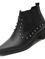 Недорогие -Жен. Fashion Boots Полиуретан Осень Ботинки На низком каблуке Заостренный носок Ботинки Черный