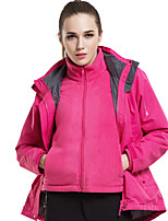 cheap -Women's Men's Hiking Softshell Jacket Hiking 3-in-1 Jackets Ski Jacket Winter Outdoor Thermal Warm Waterproof Windproof Quick Dry Winter Jacket Top Hunting Fishing Climbing Male black Female black
