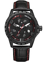 cheap -MEGIR Men's Sport Watch Dress Watch Japanese Quartz 30 m Water Resistant / Water Proof Calendar / date / day Chronograph Genuine Leather Band Analog Casual Fashion Black - Black / Red Black / Yellow