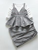 billiga -Bebis Flickor Rutig Kortärmad Klädesset
