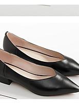 Недорогие -Жен. Комфортная обувь Наппа Leather Осень Обувь на каблуках На толстом каблуке Черный / Бежевый / Миндальный