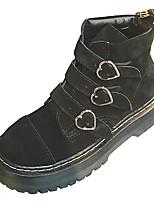 Недорогие -Жен. Армейские ботинки Полиуретан Осень Ботинки Блочная пятка Круглый носок Черный / Розовый
