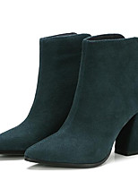 Недорогие -Жен. Fashion Boots Замша Осень Ботинки На толстом каблуке Закрытый мыс Ботинки Черный / Военно-зеленный