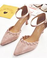 baratos -Mulheres Sapatos Confortáveis Camurça Primavera Saltos Salto Agulha Preto / Rosa claro / Khaki