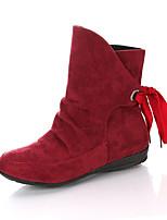 Недорогие -Жен. Fashion Boots Полиуретан Осень Минимализм Ботинки На плоской подошве Круглый носок Сапоги до середины икры Черный / Бежевый / Красный