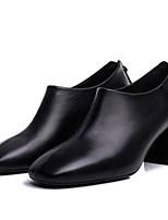 Недорогие -Жен. Ботильоны Полиуретан Осень Английский Ботинки На толстом каблуке Ботинки Черный
