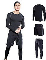 cheap -Men's Crew Neck Elastic Waistband 3pcs Running T-Shirt With Shorts / Running T-Shirt With Pants - Red, Green, Grey Sports Solid Color Sweatshirt / Tracksuit Yoga, Fitness, Gym Long Sleeve Activewear