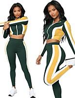abordables -Femme Pantacourt Survêtement / Costume de yoga - Vert / jaune. Des sports Bloc de Couleur Spandex Taille Haute Collants / Haut Découpé Danse, Course / Running, Fitness Manches Longues Tenues de Sport