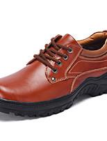 Недорогие -Муж. Кожаные ботинки Кожа Осень Классика Туфли на шнуровке Нескользкий Черный / Коричневый