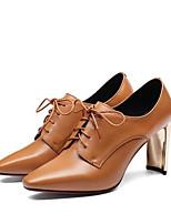 Недорогие -Жен. Комфортная обувь Наппа Leather Наступила зима Ботинки На толстом каблуке Ботинки Черный / Коричневый