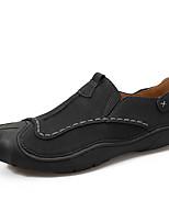 Недорогие -Муж. Комфортная обувь Наппа Leather / Полиуретан Осень На каждый день Мокасины и Свитер Нескользкий Контрастных цветов Черный / Коричневый / Хаки