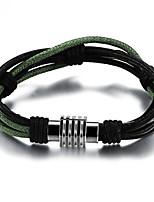 Недорогие -Муж. Плетение Wrap Браслеты Loom браслет - Титановая сталь Уникальный дизайн, модный Браслеты Черный Назначение Для улицы