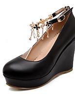 Недорогие -Жен. Комфортная обувь Полиуретан Осень Свадебная обувь Туфли на танкетке Белый / Черный / Розовый / Свадьба