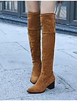 Недорогие -Жен. Fashion Boots Замша Осень Ботинки На толстом каблуке Сапоги до колена Черный / Серый / Миндальный