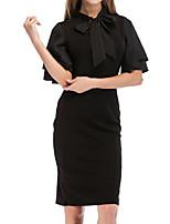 baratos -Mulheres Para Noite Delgado Bainha Vestido - Frufru, Sólido Médio Preto