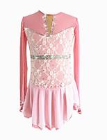 abordables -Robe de Patinage Artistique Femme / Fille Patinage Robes Rose Spandex Micro-élastique Utilisation / Professionnel Tenue de Patinage Floral / Botanique / Mode / Strass Manches Longues Danse latine