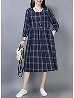 baratos -Mulheres Sofisticado / Elegante Evasê Vestido - Patchwork / Estampado, Geométrica Médio