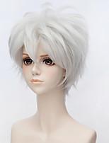 billiga -Peruktillbehör / Kostymaccessoarer Rak Asymmetrisk frisyr Syntetiskt hår 10 tum Anime / Cosplay Silver Peruk Herr Korta Utan lock Silver