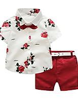 Недорогие -Дети Мальчики Однотонный / Цветочный принт С короткими рукавами Набор одежды