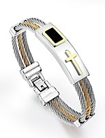 cheap -Men's Stylish Hologram Bracelet - Titanium Steel Cross Punk Bracelet Gold / Silver For Daily