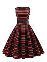 baratos -Mulheres Moda de Rua balanço Vestido - Estampado, Arco-Íris Altura dos Joelhos