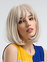 Недорогие -Парики из искусственных волос Прямой Стрижка боб Искусственные волосы 12 дюймовый Природные волосы Белый Парик Жен. Средняя длина Без шапочки-основы Белый