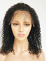 Недорогие -Натуральные волосы Лента спереди Парик Бразильские волосы Бирманские волосы Kinky Curly Парик Стрижка боб 130% Плотность волос / с детскими волосами / с детскими волосами / с детскими волосами