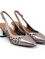 Недорогие -Жен. Комфортная обувь Наппа Leather Лето Обувь на каблуках На толстом каблуке Серебряный / Красный / Свадьба
