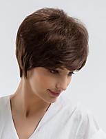 Недорогие -Человеческие волосы без парики Натуральные волосы Прямой Стрижка под мальчика Природные волосы Темно-коричневый Без шапочки-основы Парик Жен. На каждый день