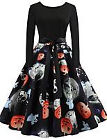 baratos -Mulheres Moda de Rua / Elegante Bainha Vestido - Estampado, Floral Altura dos Joelhos