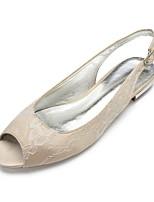 baratos -Mulheres Sapatos Confortáveis Renda / Cetim Primavera Verão Sapatos De Casamento Sem Salto Peep Toe Prateado / Champanhe / Ivory / Festas & Noite