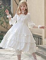 economico -Dolce Lolita Classica e Tradizionale Abito casual Lolita Elegante Ruffle Dress Per femmina Vestiti Cosplay Bianco / Rosso Manica Flare Mezza manica Midi Costumi Halloween