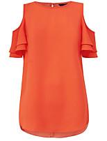 baratos -Mulheres Tamanhos Grandes Blusa Básico / Moda de Rua Manga Tulipa Patchwork, Sólido Solto / Verão
