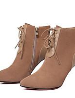 Недорогие -Жен. Fashion Boots Замша Зима Ботинки На шпильке Закрытый мыс Ботинки Черный / Миндальный