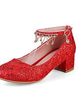 Недорогие -Жен. Балетки Полиуретан Весна Обувь на каблуках На толстом каблуке Бежевый / Красный