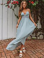 baratos -Mulheres Vintage / Temática Asiática Bainha / balanço Vestido Sólido Longo