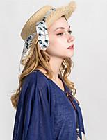 Недорогие -Жен. Классический Соломенная шляпа - Бант Однотонный / Осень / Зима