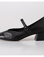 Недорогие -Жен. Комфортная обувь Наппа Leather Осень Обувь на каблуках Блочная пятка Черный / Бежевый