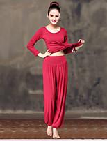 abordables -Femme Encolure dégagée Sarouel / Jambes Evasées Costume de yoga - Rouge et Blanc, Noir / Blanc, Bourgogne Des sports Couleur unie Modal Taille Haute Pantalon / Surpantalon / Hauts / Top Yoga, Danse