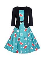 Недорогие -Жен. Классический / Элегантный стиль Оболочка Платье - Геометрический принт, Пэчворк / С принтом Выше колена