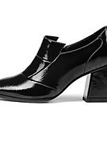 Недорогие -Жен. Комфортная обувь Лакированная кожа Весна & осень Минимализм Обувь на каблуках На толстом каблуке Черный