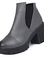 Недорогие -Жен. Ботильоны Полиуретан Осень Ботинки На толстом каблуке Круглый носок Ботинки Черный / Серый / Темно-коричневый