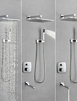 abordables -Robinet de douche / Robinet lavabo - Moderne Chrome Montage mural Soupape en laiton