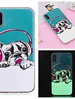 baratos -Capinha Para Apple iPhone XR / iPhone XS Max Brilha no Escuro / Estampada Capa traseira Cachorro Macia TPU para iPhone XS / iPhone XR / iPhone XS Max